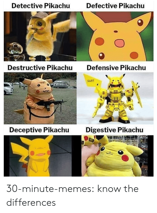 Memes, Pikachu, and Tumblr: Detective Pikachu  Defective Pikachu  Destructive Pikachu  Defensive Pikachu  RT  Digestive Pikachu  Deceptive Pikachu 30-minute-memes:  know the differences