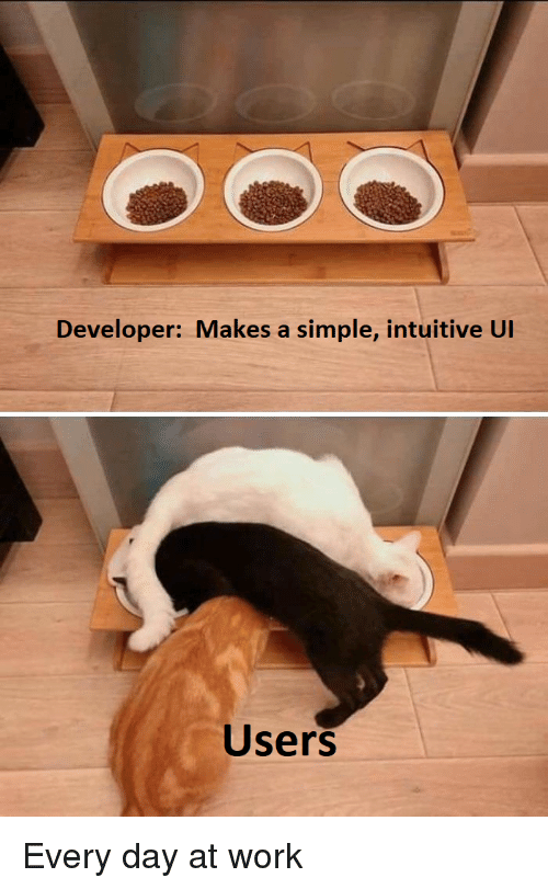 Work, Simple, and Day: Developer: Makes a simple, intuitive UI  Users Every day at work