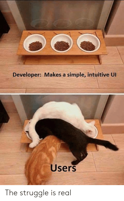 The Struggle is Real: Developer: Makes a simple, intuitive UI  Users The struggle is real
