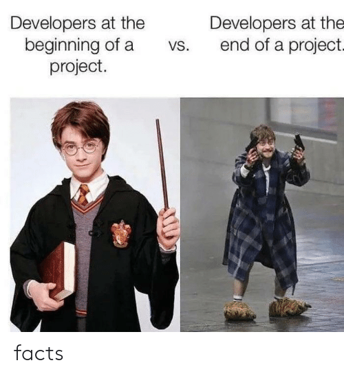 Developers: Developers at the  beginning of a  project.  Developers at the  end of a project.  VS. facts