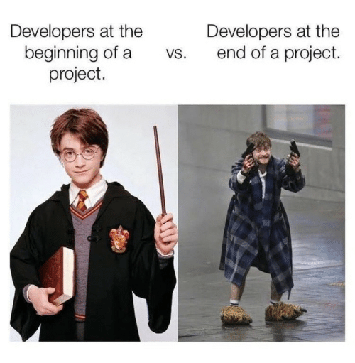 Developers: Developers at the  beginning of a  project.  Developers at the  end of a project.  VS.