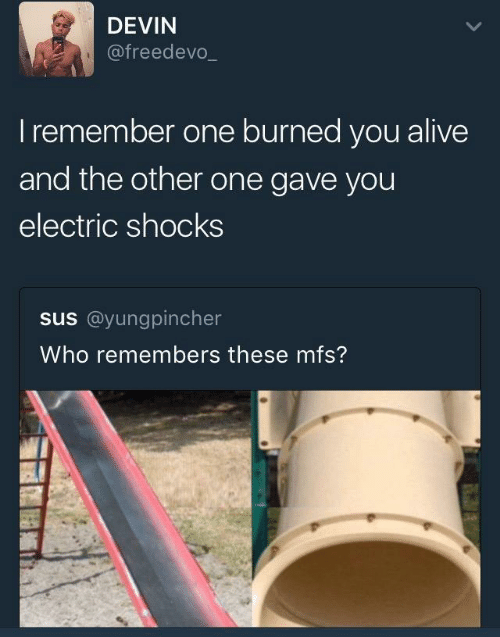 Alive, Who, and One: DEVIN  @freedevo_  Iremember one burned you alive  and the other one gave you  electric shocks  us@yunggincher  Who remembers these mfs?