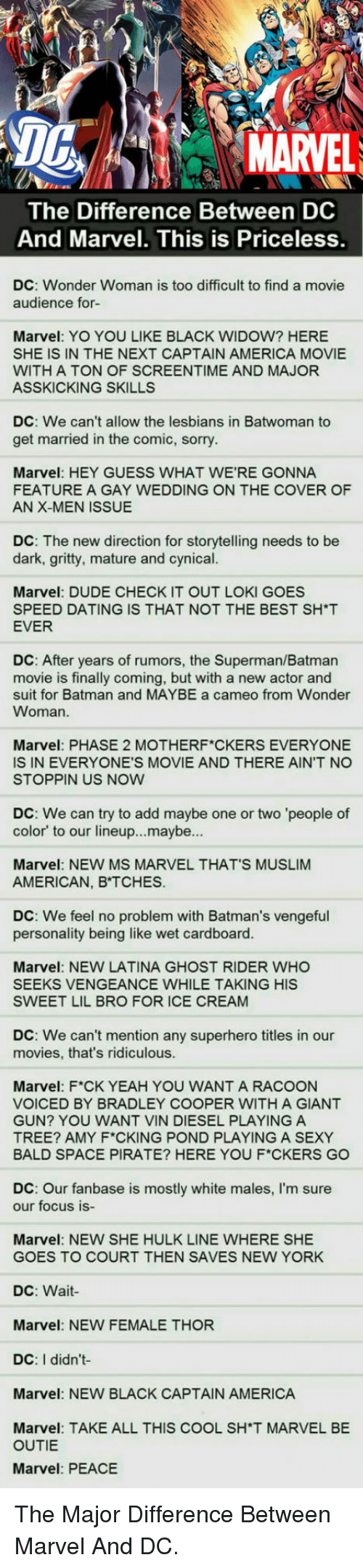 Bradley Cooper: DG  MARVEL  The Difference Between DC  And Marvel. This is Priceless  DC: Wonder Woman is too difficult to find a movie  audience for-  Marvel: YO YOU LIKE BLACK WIDOW? HERE  SHE IS IN THE NEXT CAPTAIN AMERICA MOVIE  WITH A TON OF SCREENTIME AND MAJOR  ASSKICKING SKILLS  DC: We can't allow the lesbians in Batwoman to  get married in the comic, sorry  Marvel: HEY GUESS WHAT WE'RE GONNA  FEATURE A GAY WEDDING ON THE COVER OF  AN X-MEN ISSUE  DC: The new direction for storytelling needs to be  dark, gritty, mature and cynical.  ES  Marvel: DUDE CHECK IT OUT LOKI GO  SPEED DATING IS THAT NOT THE BEST SH*T  EVER  DC: After years of rumors, the Superman/Batman  movie is finally coming, but with a new actor and  suit for Batman and MAYBE a cameo from Wonder  Woman.  Marvel: PHASE 2 MOTHERF CKERS EVERYONE  IS IN EVERYONE'S MOVIE AND THERE AIN'T NO  STOPPIN US NOW  DC: We can try to add maybe one or two 'people of  color' to our lineup...maybe...  Marvel: NEW MS MARVEL THAT'S MUSLIM  AMERICAN, B TCHES.  DC: We feel no problem with Batman's vengeful  personality being like wet cardboard.  Marvel: NEW LATINA GHOST RIDER WHO  SEEKS VENGEANCE WHILE TAKING HIS  SWEET LIL BRO FOR ICE CREAM  DC: We can't mention any superhero titles in our  movies, that's ridiculous  Marvel: F*CK YEAH YOU WANT A RACOON  VOICED BY BRADLEY COOPER WITH A GIANT  GUN? YOU WANT VIN DIESEL PLAYING A  TREE? AMY F CKING POND PLAYING A SEXY  BALD SPACE PIRATE? HERE YOU F*CKERS GO  DC: Our fanbase is mostly white males, I'm sure  our focus is-  Marvel: NEW SHE HULK LINE WHERE SHE  GOES TO COURT THEN SAVES NEW YORK  DC: Wait  Marvel: NEW FEMALE THOR  DC: I didn't  Marvel: NEW BLACK CAPTAIN AMERICA  Marvel: TAKE ALL THIS COOL SH'T MARVEL BE  OUTIE  Marvel: PEACE <p>The Major Difference Between Marvel And DC.</p>