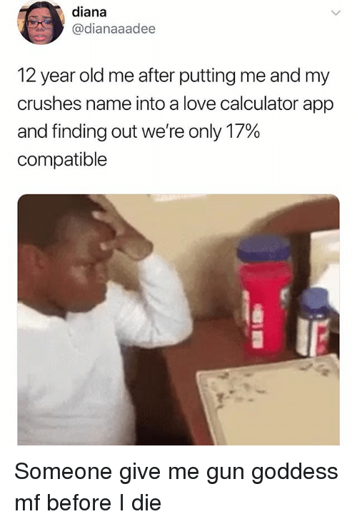 Love, Memes, and Calculator: diana  @dianaaadee  12 year old me after putting me and my  crushes name into a love calculator app  and finding out we're only 17%  compatible Someone give me gun goddess mf before I die