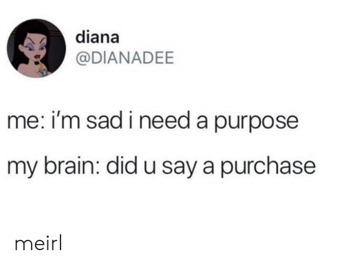 Brain, Sad, and MeIRL: diana  @DIANADEE  me: i'm sad i need a purpose  my brain: did u say a purchase meirl