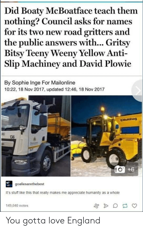Teeny: Did Boaty McBoatface teach them  nothing? Council asks for names  for its two new road gritters and  the public answers with... Gritsy  Bitsy Teeny Weeny Yellow Anti  Slip Machiney and David Plowie  By Sophie Inge For Mailonline  10:22, 18 Nov 2017, updated 12:46, 18 Nov 2017  Multihog  138  IO +6  goaliesarethebest  It's stuff like this that really makes me appreciate humanity as a whole  149,040 notes You gotta love England