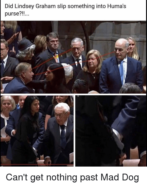 Memes, Mad, and 🤖: Did Lindsey Graham slip something into Huma's  purse?!! Can't get nothing past Mad Dog