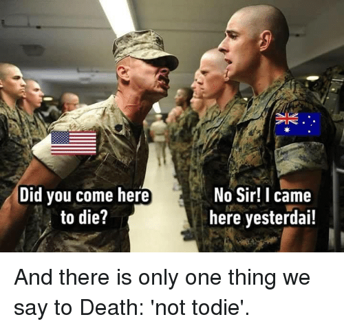 Dank, Death, and I Came: Did vou come here  to die?  No Sir! I came  here yesterdai! And there is only one thing we say to Death: 'not todie'.