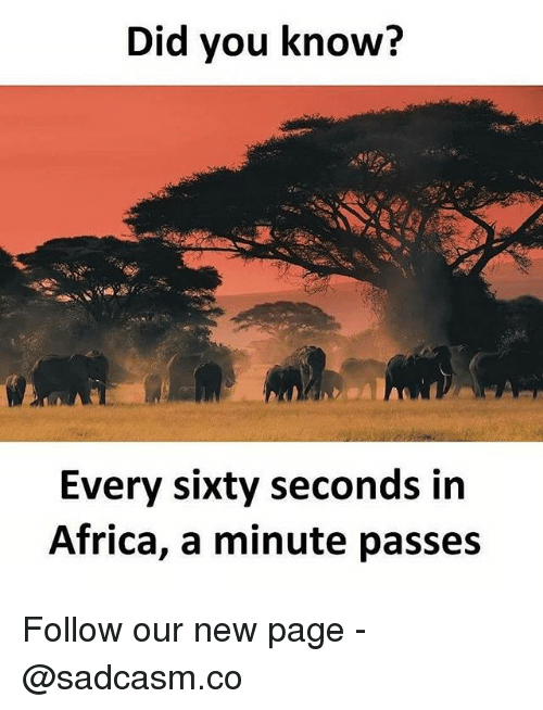 Africa, Memes, and 🤖: Did vou know?  Every sixty seconds in  Africa, a minute passes Follow our new page - @sadcasm.co