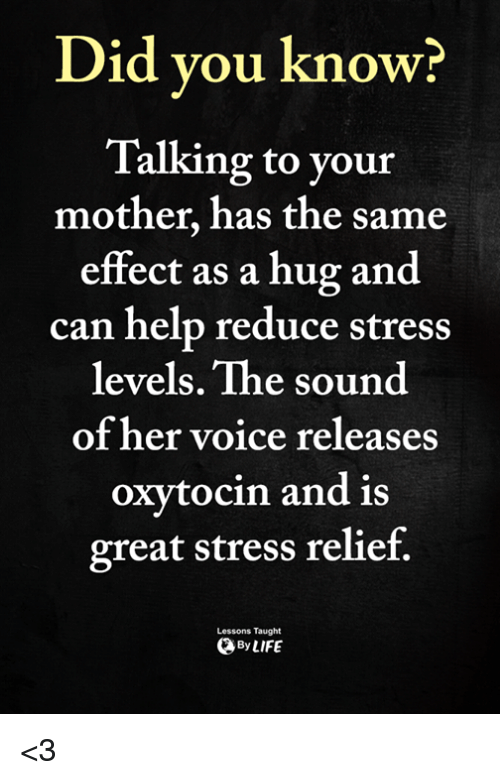 Memes, Help, and Voice: Did vou know?  Talking to your  mother, has the same  effect as a hug and  can help reduce stress  levels. The sound  of her voice releases  oxytocin and is  great stress relief.  Lessons Taught  ByLIFE <3
