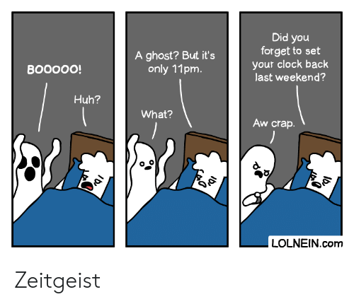 clock: Did you  forget to set  your clock back  last weekend?  A ghost? But it's  only 11pm.  ВOOOО!  Huh?  What?  Aw crap.  LOLNEIN.com  کهی Zeitgeist