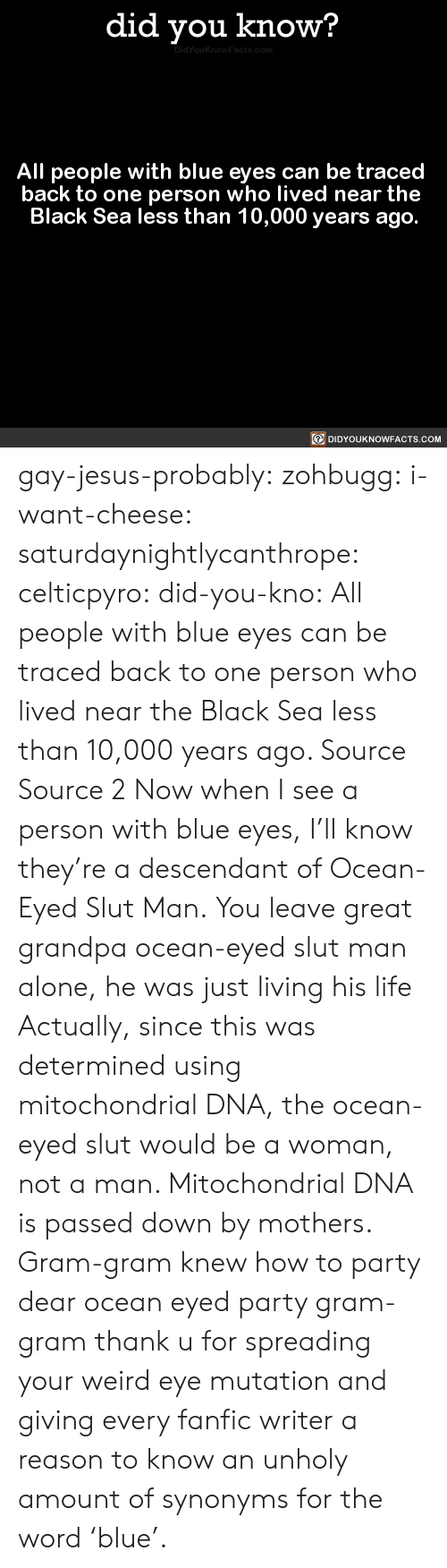 Being Alone, Jesus, and Life: did you know?  All people with blue eyes can be traced  back to one person who lived near the  Black Sea less than 10,000 years ago  回DIDYOUKNOWFACTS.COM gay-jesus-probably: zohbugg:  i-want-cheese:  saturdaynightlycanthrope:  celticpyro:  did-you-kno: All people with blue eyes can be traced  back to one person who lived near the  Black Sea less than 10,000 years ago.  Source Source 2 Now when I see a person with blue eyes, I'll know they're a descendant of Ocean-Eyed Slut Man.   You leave great grandpa ocean-eyed slut man alone, he was just living his life  Actually, since this was determined using mitochondrial DNA, the ocean-eyed slut would be a woman, not a man. Mitochondrial DNA is passed down by mothers.   Gram-gram knew how to party  dear ocean eyed party gram-gram thank u for spreading your weird eye mutation and giving every fanfic writer a reason to know an unholy amount of synonyms for the word'blue'.