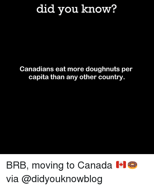 Memes, 🤖, and Doughnut: did you know?  Canadians eat more doughnuts per  capita than any other country BRB, moving to Canada 🇨🇦🍩 via @didyouknowblog