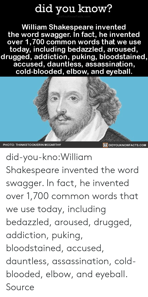 cold blooded: did you know?  DidYouKnowFacts. com  William Shakespeare invented  the word swagger. In fact, he invented  over 1,700 common words that we use  today, including bedazzled, aroused,  drugged, addiction, puking, bloodstained,  accused, dauntless, assassination,  cold-blooded, elbow, and eyeball.  DIDYOUKNOWFACTS.COM  PHOTO: THINKSTOCK/ERIN MCCARTHY did-you-kno:William Shakespeare invented the word swagger. In fact, he invented over 1,700 common words that we use today, including bedazzled, aroused, drugged, addiction, puking, bloodstained, accused, dauntless, assassination, cold-blooded, elbow, and eyeball.  Source