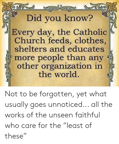 """Church, Clothes, and Memes: Did you know?  Every day, the Catholic  Church feeds, clothes,  shelters and educates  more people than any  other organization in  the world. Not to be forgotten, yet what usually goes unnoticed... all the works of the unseen faithful who care for the """"least of these"""""""