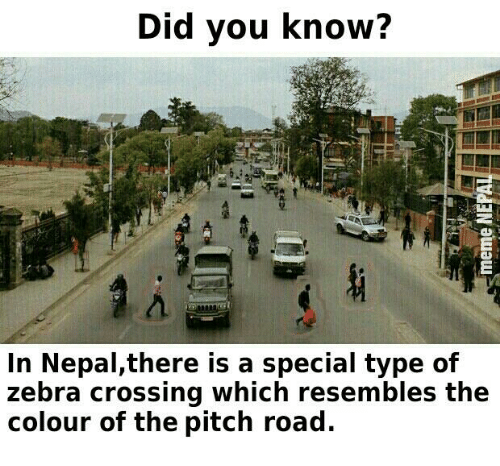 Cross, Nepal, and Nepali: Did you know?  In Nepal,there is a special type of  zebra crossing which resembles the  colour of the pitch road.