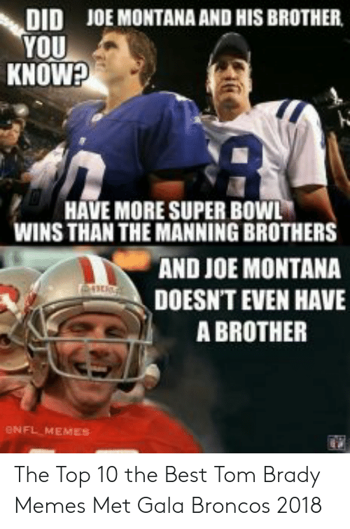 Tom Brady Memes: DID  YOU  KNOW?  JOE MONTANA AND HIS BROTHER  HAVE MORE SUPER BOWL  WINS THAN THE MANNING BROTHERS  AND JOE MONTANA  DOESN'T EVEN HAVE  A BROTHER  eNFL MEMES The Top 10 the Best Tom Brady Memes Met Gala Broncos 2018