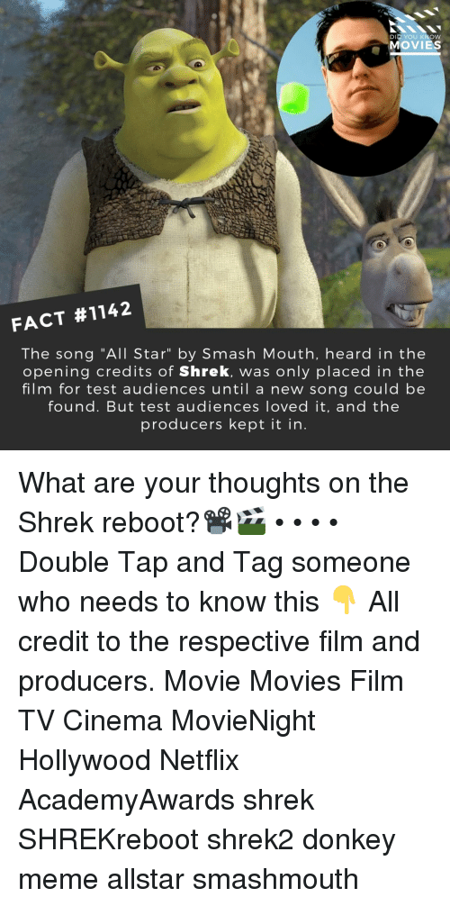 "All Star, Donkey, and Meme: DID YOU KNOW  MOVIES  FACT #1142  The song ""All Star"" by Smash Mouth, heard in the  opening credits of Shrek, was only placed in the  film for test audiences until a new song could be  found. But test audiences loved it, and the  producers kept it in What are your thoughts on the Shrek reboot?📽️🎬 • • • • Double Tap and Tag someone who needs to know this 👇 All credit to the respective film and producers. Movie Movies Film TV Cinema MovieNight Hollywood Netflix AcademyAwards shrek SHREKreboot shrek2 donkey meme allstar smashmouth"