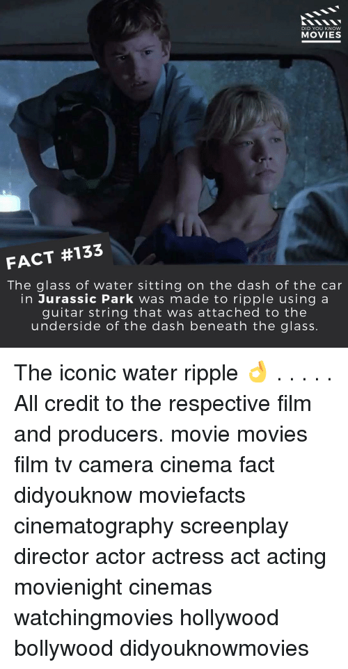 Jurassic Park, Memes, and Camera: DID YOU KNOW  MOVIES  FACT #133  The glass of water sitting on the dash of the car  in Jurassic Park was made to ripple using a  guitar string that was attached to the  underside of the dash beneath the glass. The iconic water ripple 👌 . . . . . All credit to the respective film and producers. movie movies film tv camera cinema fact didyouknow moviefacts cinematography screenplay director actor actress act acting movienight cinemas watchingmovies hollywood bollywood didyouknowmovies
