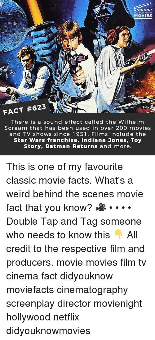Bailey Jay, Batman, and Facts: DID YOU KNOw  MOVIES  FACT #623  There is a sound effect called the Wilhelm  Scream that has been used in over 200 movies  and TV shows since 1951. Films include the  Star Wars franchise, Indiana Jones, Toy  Story, Batman Returns and more This is one of my favourite classic movie facts. What's a weird behind the scenes movie fact that you know? 🎥 • • • • Double Tap and Tag someone who needs to know this 👇 All credit to the respective film and producers. movie movies film tv cinema fact didyouknow moviefacts cinematography screenplay director movienight hollywood netflix didyouknowmovies