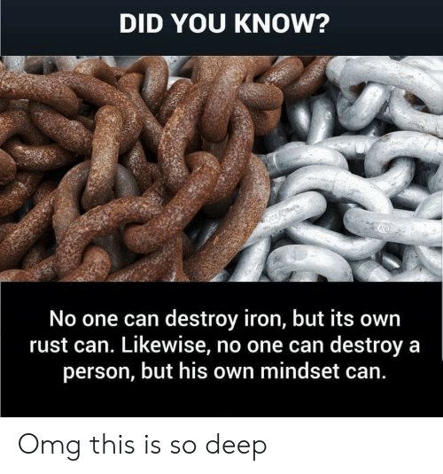 Omg, Im 14 & This Is Deep, and Rust: DID YOU KNOW?  No one can destroy iron, but its own  rust can. Likewise, no one can destroy a  person, but his own mindset can. Omg this is so deep