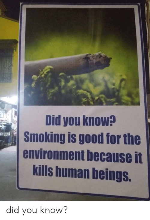 Beings: Did you know?  Smoking is good for the  environment because it  kills human beings. did you know?