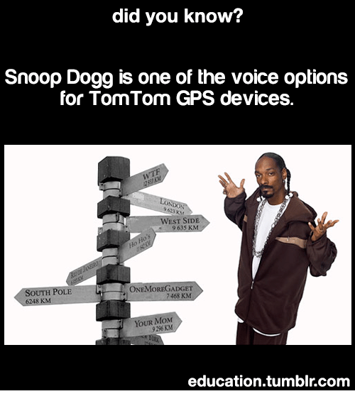 West Side: did you know?  Snoop Dogg is one of the voice options  for TomTom GPS devices.  9 623 KM  WEST SİDE  9635 KM  ONEMOREGADGET  7468 KM  OUTH POLE  YOUR MoxM  9296 KM  education.tumblr.com