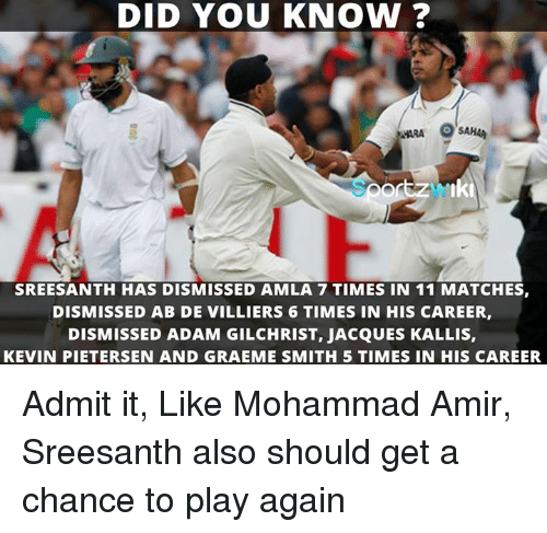 Memes, Adam Gilchrist, and 🤖: DID YOU KNOW?  SREESANTH HAS DISMISSED AMLA 7 TIMES IN 11 MATCHES,  DISMISSED AB DE VILLIERS 6 TIMES IN HIS CAREER,  DISMISSED ADAM GILCHRIST, JACQUES KALLIS,  KEVIN PIETERSEN AND GRAEME SMITH 5 TIMES IN HIS CAREER. Admit it, Like Mohammad Amir, Sreesanth also should get a chance to play again