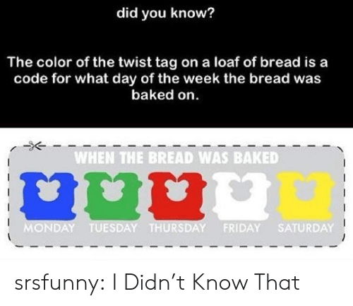 Day Of The: did you know?  The color of the twist tag on a loaf of bread is a  code for what day of the week the bread was  baked on  WHEN THE BREAD WAS BAKED  MONDAY TUESDAY THURSDAY FRIDAY SATURDAY srsfunny:  I Didn't Know That