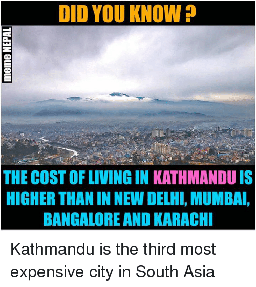 Nepali, Asia, and Mumbai: DID YOU KNOW  THE COSTOFLIVINGIN KATHMANDU IS  HIGHER THANIN NEW DELHI, MUMBAI,  BANGALORE AND KARACHI Kathmandu is the third most expensive city in South Asia