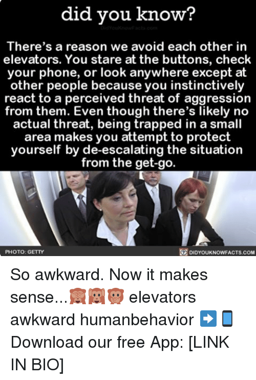 Memes, Trap, and Trapping: did you know?  There's a reason we avoid each other in  elevators. You stare at the buttons, check  your phone, or look anywhere except at  other people because you instinctively  react to a perceived threat of aggression  from them. Even though there's likely no  actual threat, being trapped in a small  area makes you attempt to protect  yourself by de-escalating the situation  from the get-go  DIDYOUKNOWFACTs.coM  PHOTO: GETTY So awkward. Now it makes sense...🙈🙉🙊 elevators awkward humanbehavior ➡📱Download our free App: [LINK IN BIO]