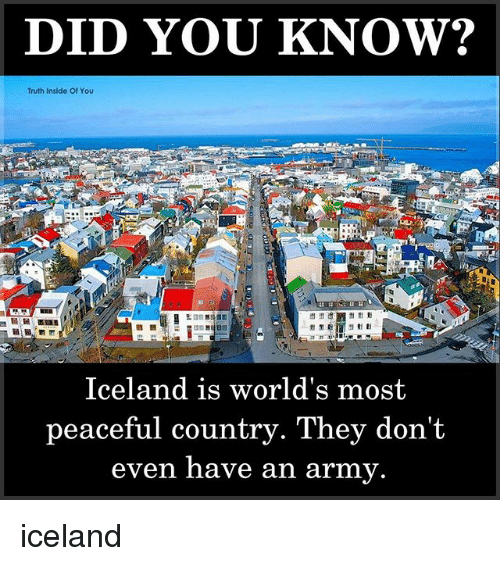 Memes, Army, and Iceland: DID YOU KNOW?  Truth Inside Of You  Iceland is world's most  peaceful country. They don't  even nave an army. iceland