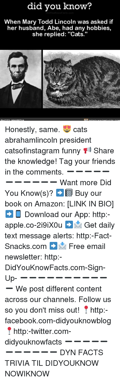 """Amazon, Apple, and Cats: did you know?  When Mary Todd Lincoln was asked if  her husband, Abe, had any hobbies,  she replied: """"Cats."""" Honestly, same. 😻 cats abrahamlincoln president catsofinstagram funny 📢 Share the knowledge! Tag your friends in the comments. ➖➖➖➖➖➖➖➖➖➖➖ Want more Did You Know(s)? ➡📓 Buy our book on Amazon: [LINK IN BIO] ➡📱 Download our App: http:-apple.co-2i9iX0u ➡📩 Get daily text message alerts: http:-Fact-Snacks.com ➡📩 Free email newsletter: http:-DidYouKnowFacts.com-Sign-Up- ➖➖➖➖➖➖➖➖➖➖➖ We post different content across our channels. Follow us so you don't miss out! 📍http:-facebook.com-didyouknowblog 📍http:-twitter.com-didyouknowfacts ➖➖➖➖➖➖➖➖➖➖➖ DYN FACTS TRIVIA TIL DIDYOUKNOW NOWIKNOW"""