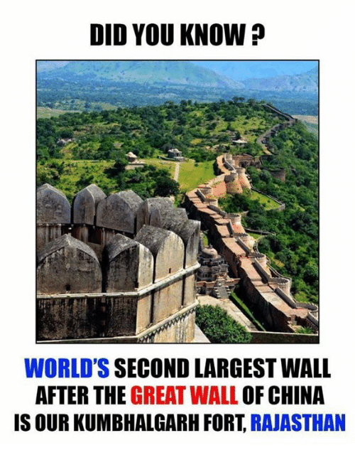 Memes, 🤖, and Great Wall of China: DID YOU KNOW?  WORLD'S SECOND LARGEST WALL  AFTER THE  GREAT WALL OF CHINA  IS OUR KUMBHALGARH FORT  RAJASTHAN