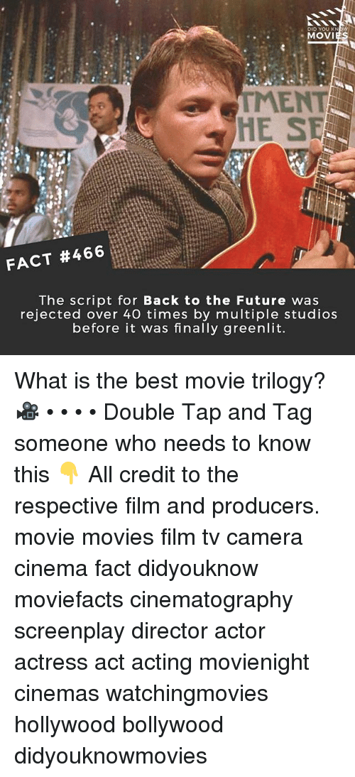 Back to the Future, Future, and Memes: DID YOU KNW  MOVI  MENT  HE SE  FACT #466  The script for Back to the Future was  rejected over 40 times by multiple studios  before it was finally greenlit. What is the best movie trilogy? 🎥 • • • • Double Tap and Tag someone who needs to know this 👇 All credit to the respective film and producers. movie movies film tv camera cinema fact didyouknow moviefacts cinematography screenplay director actor actress act acting movienight cinemas watchingmovies hollywood bollywood didyouknowmovies
