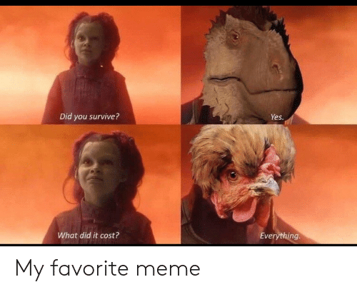Meme, Yes, and Did: Did you survive?  Yes  What did it cost?  Everything My favorite meme