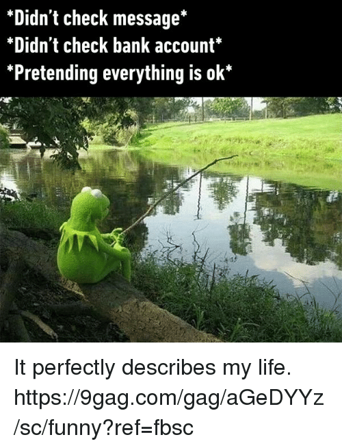 9gag, Dank, and Funny: *Didn't check message*  *Didn't check bank account*  *Pretending everything is ok* It perfectly describes my life. https://9gag.com/gag/aGeDYYz/sc/funny?ref=fbsc
