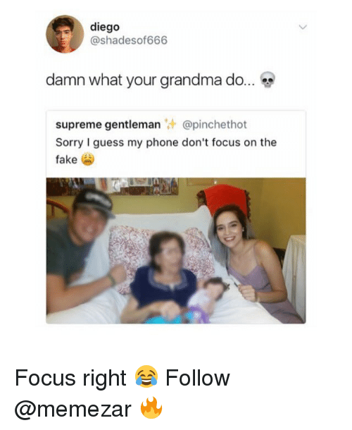 Fake, Grandma, and Memes: diego  @shadesof666  damn what your grandma do  supreme gentleman @pinchethot  Sorry I guess my phone don't focus on the  fake Focus right 😂 Follow @memezar 🔥
