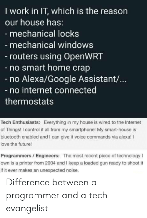 Difference: Difference between a programmer and a tech evangelist