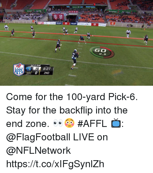 Anaconda, Memes, and Goal: DIGGITY DAWGS  A  Heineken  AFP  GO  0.8  st & Goal  19  02ND  8:27  AFF Come for the 100-yard Pick-6.  Stay for the backflip into the end zone. 👀😳 #AFFL  📺: @FlagFootball LIVE on @NFLNetwork https://t.co/xIFgSynlZh