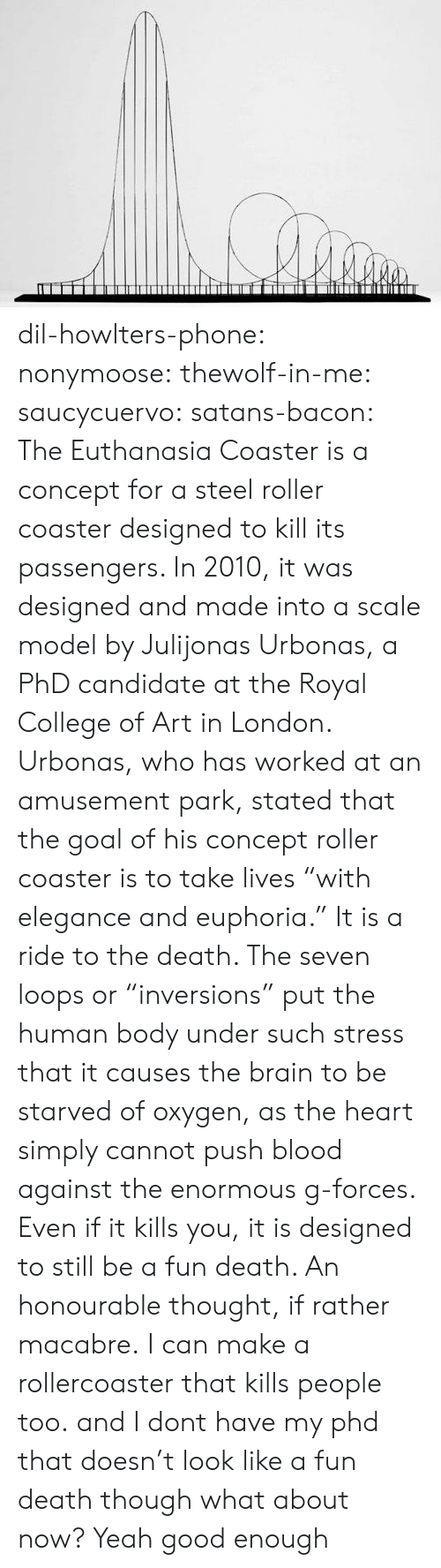 "College, Phone, and Target: dil-howlters-phone:  nonymoose:  thewolf-in-me:  saucycuervo:  satans-bacon: The Euthanasia Coaster is a concept for a steel roller coaster designed to kill its passengers. In 2010, it was designed and made into a scale model by Julijonas Urbonas, a PhD candidate at the Royal College of Art in London. Urbonas, who has worked at an amusement park, stated that the goal of his concept roller coaster is to take lives ""with elegance and euphoria."" It is a ride to the death. The seven loops or ""inversions"" put the human body under such stress that it causes the brain to be starved of oxygen, as the heart simply cannot push blood against the enormous g-forces. Even if it kills you, it is designed to still be a fun death. An honourable thought, if rather macabre. I can make a rollercoaster that kills people too. and I dont have my phd   that doesn't look like a fun death though   what about now?   Yeah good enough"