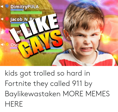 trolled: DimitryPULA  ef kids got trolled so hard in Fortnite they called 911 by Baylikewastaken MORE MEMES HERE