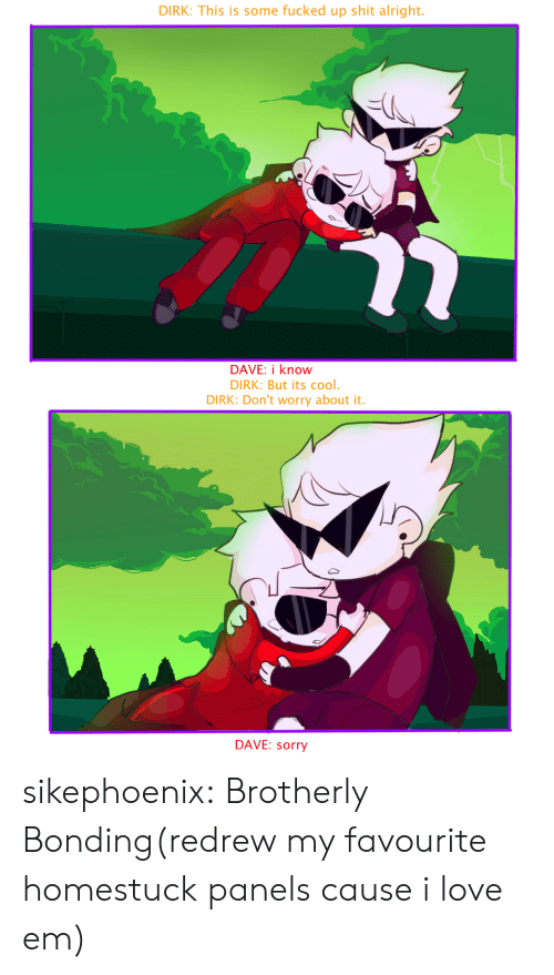 Love, Shit, and Sorry: DIRK: This is some fucked up shit alright  DAVE: i know  DIRK: But its cool.  DIRK: Don't worry about it.  DAVE: sorry sikephoenix:  Brotherly Bonding(redrew my favourite homestuck panels cause i love em)