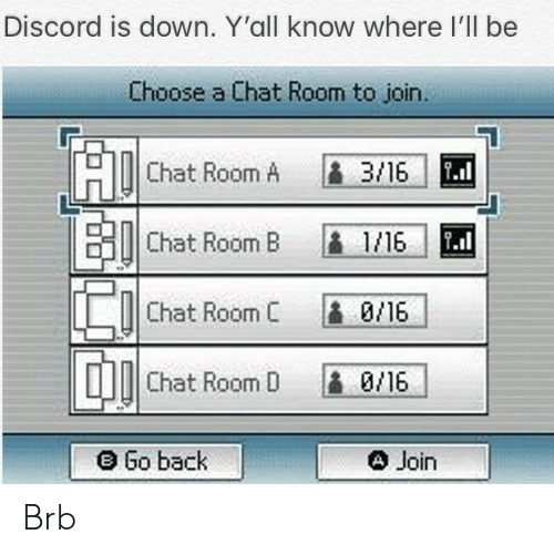 Chat, Mad, and Back: Discord is down. Y'all know where I'll be  Choose a Chat Room to join.  Chat Room A B 3/16  Chat Room B 1/6  Chat Room C 0/16  Chat Room D 0/16  MAD  e Go back  e Join Brb