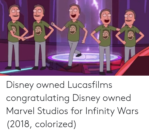 Disney, Infinity, and Marvel: Disney owned Lucasfilms congratulating Disney owned Marvel Studios for Infinity Wars (2018, colorized)