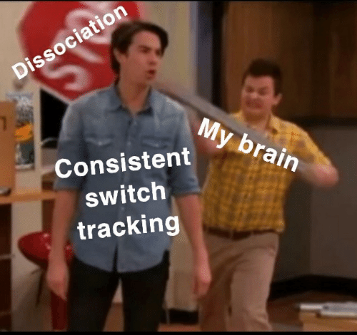 Brain, Switch, and Consistent: Dissociation  My brain  Consistent  switch  tracking