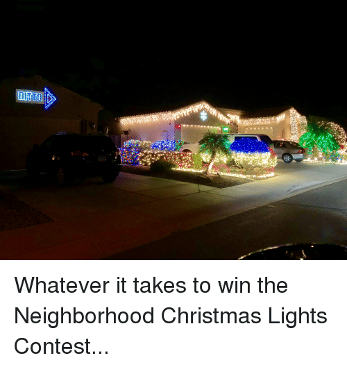 Christmas, Funny, and Lights: DITTO Whatever it takes to win the Neighborhood Christmas Lights Contest...