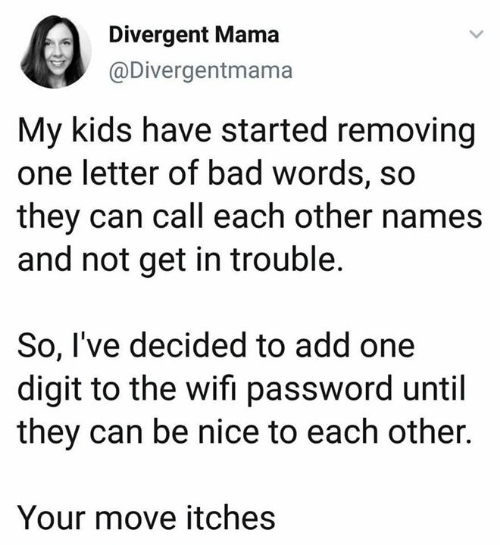 Removing: Divergent Mama  @Divergentmama  My kids have started removing  one letter of bad words, so  they can call each other names  and not get in trouble.  So, I've decided to add one  digit to the wifi password until  they can be nice to each other.  Your move itches