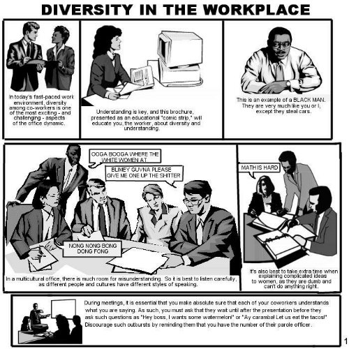 """Comic Strip: DIVERSITY IN THE WORKPLACE  In today's fast-paced work  environment, diversity  among cO-WOrkers is one  of the most exciting and  challenging aspects  of the office dynamic  Understanding is key, and this brochure  presented as an educational """"comic strip,"""" will  educate you, the worker, about diversity and  This is an example of a BLACK MAN  They are very much like you or I,  except they steal cars.  understanding.  OOGA BOOGA WHERE THE  MATH IS HARD  BLIMEY GUVNA PLEASE  GIVE ME ONE UP THE SHITTER  NONG NONG BONG  DONG FONG  It's also best to take extra time when  explaining complicated ideas  to women, as they are dumb and  In a multicultural office, there is much room for misunderstanding. So it is best to listen carefully  as different people and cultures have different styles of speaking  cant do anything right  During meetings, it is essential that you make absolute sure that each of your coworkers understands  what you are saying. As such, you must ask that they wait until after the presentation before they  ask such questions as """"Hey boss, I wants some watermelon!"""" or """"Ay caramba! Let us eat the tacos!""""  Discourage such outbursts by reminding them that you have the number of their parole officer"""