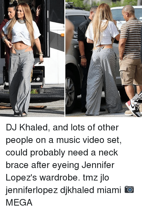 DJ Khaled, JLo, and Memes: DJ Khaled, and lots of other people on a music video set, could probably need a neck brace after eyeing Jennifer Lopez's wardrobe. tmz jlo jenniferlopez djkhaled miami 📷MEGA